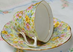 Chintz teacup & saucer by Rosina