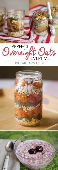 The basics of overnight oats! How to make them perfect every time including recipes for Apple Pie Overnight Oats, Peach Cobbler Overnight Oats, and Cherry Berry Chia Oats // Live Eat Learn