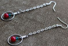 Bohemian Vintage Earrings, Red&Green Long Silver Chain Circular Hoop Drop/Dangle #Handmade #HoopDropDangle