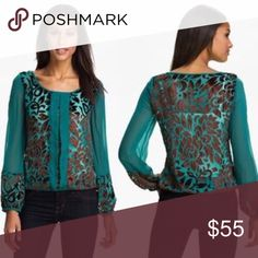 """""""Wanderlust"""" Lucky Brand Burnout Velvet Blouse """"Wanderlust"""" By Lucky Brand. Made in India. High quality sheer blouse. Dry Clean. Coppery Brown burnout velvet swirls over Teal sheer blouse.  Gorgeous!!!! Lucky Brand Tops Blouses"""