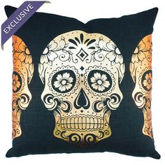 Linen-blend pillow with a golden sugar skull motif. Handcrafted in the USA exclusively for Joss & Main.   Product: Pillow
