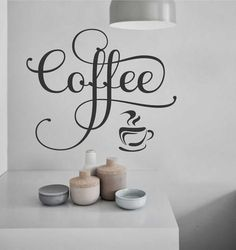 Kitchen Wall Decal Fancy Coffee Word and Cup adds a whimsical touch to your home coffee bar, office break room or in your Coffee shop. Vinyl Wall Lettering - wide x high Coffee Nook, Coffee Bar Home, Coffee Cup, Kitchen Words, Kitchen Quotes, Coffee Words, Coffee Signs, Coffee Theme Kitchen, Kitchen Wall Decals