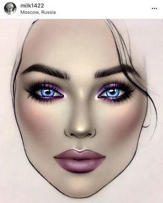 Makeup Inspo, Makeup Inspiration, Makeup Ideas, Beauty Makeup, Makeup Face Charts, Face Makeup, Mac Face Charts, Makeup Drawing, Makeup Challenges