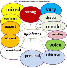 Collocations with the word 'opinion'.