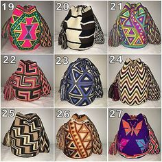 Most AVAILABLE Authentic Mochilas Wayuu shoulder crossbody colombian chila bags