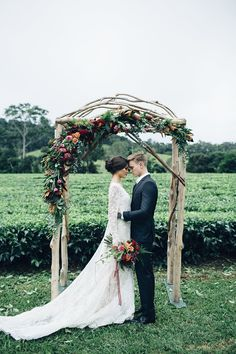 How gorgeous is this ceremonial arch!? If you're looking for some romantic and moody inspiration for your wedding, then you need to check out this styled shoot!