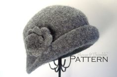 Felted Cloche & Brooch - Boho Style Hat and Flower Pin - Crochet PATTERN Printable Download PDF 2123