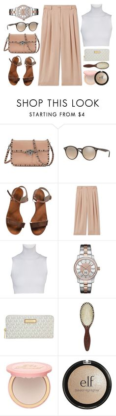 """Beginning"" by jomashop ❤ liked on Polyvore featuring Valentino, Ray-Ban, Emporio Armani, JBW, Michael Kors, Christophe Robin, Too Faced Cosmetics, Charlotte Russe and beige"