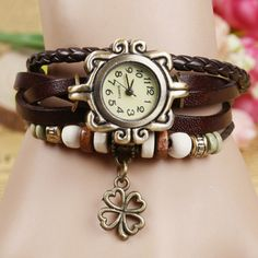 Women Four Leaf Clover Weave Pendant Bracelet Wrist Watch