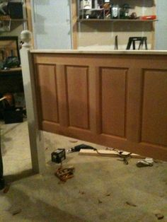 Door headboard.Love the railings on the ends.