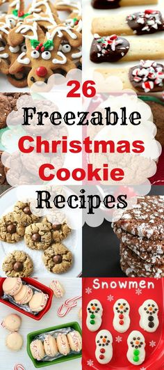 26 Freezable Christmas Cookie Recipes, make ahead Christmas cookies. When it is time to serve or make up gifts, I have a huge variety to choose from and so will you now with 26 Freezable Christmas Cookie Recipes, perfect for the holidays! Christmas Snacks, Xmas Food, Christmas Cooking, Christmas Goodies, Christmas Candy, Christmas Ideas, Christmas Holidays, Christmas Parties, Thumbprint Cookies