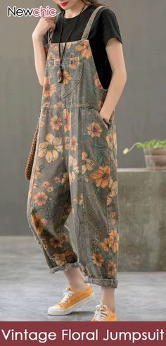 Vintage Print Floral Straps Side Pockets Loose Pockets Denim Jumpsuits Source - Vintage Print Floral Straps Side Pockets Loose Pockets Denim Jumpsuits Source by newchicstylist # - Hijab Fashion, Boho Fashion, Fashion Dresses, Womens Fashion, Fashion Trends, Floral Fashion, Fashion Vintage, Fashion Ideas, Mode Outfits