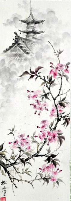 Wisteria Chinese painting: 15 thousand imagesYou can find Chinese art and more on our website.Wisteria Chinese painting: 15 thousand images Sakura Painting, Japanese Painting, Chinese Painting Flowers, Chinese Flowers, Drawing Flowers, Japanese Flowers, China Painting, Art Asiatique, Art Japonais