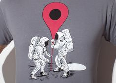 """We were on the moon"" de Mainial - Consíguela en http://www.pampling.com/ficha_producto.php?id_producto=486 #Moon #GoogleMaps #Here #Pampling #Tee #Tshirt #Design #Astronaut #Dailytee #Creative #Cool #Camisetas"