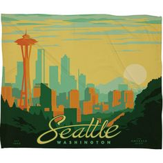 DENY Designs DENY Designs Anderson Design Group Seattle Polyester Fleece  Throw Blanket