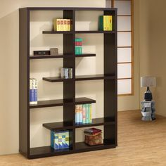 Cappuccino Bookshelf Coaster Furniture in Bookcases. Standing 71 inches tall, this bookshelf features small and large open storage space for displaying books, knick knacks and other home decor. Finished in cappuccino. Wooden Shelf Design, Corner Shelf Design, Wooden Storage Shelves, Wooden Bookcase, Bookshelf Design, Wall Shelves Design, Display Shelves, Wood Shelf, Storage Drawers