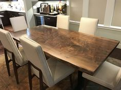 Natural Live Edge Wood Dining Tables - Serving The Greater Seattle Region — elpis&wood Walnut Dining Table, Dining Table In Kitchen, Wood Table, Dining Tables, Live Edge Wood, Live Edge Table, Breakfast Nook Table, Maple Kitchen, Custom Furniture