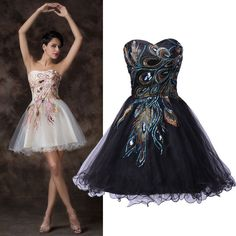 Black&White PRETTY Peacock Short Mini Dress Homecoming Prom Party Cocktail Dress #GraceKarin #BallGown #Cocktail