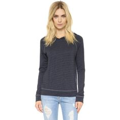 SUNDRY Pullover Hoodie ($120) ❤ liked on Polyvore featuring tops, hoodies, graphite, lightweight pullover hoodie, long sleeve hoodie, french terry hoodie, hooded sweatshirt and lightweight hoodie