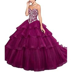 1dc2d9c6dc Onlybridal Women s Off Shoulder Tulle Embroidry High Low Quinceanera  Dresses Ball Gown Prom Dress