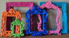 Blue and orange picture frame  with black and white ultrasound