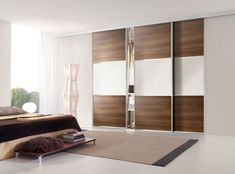 Decorating Small Bedroom : Awesome Bedroom Design With Modern Brown And White Sliding Door Bedroom Closet And Cream Rug On The White Floor Combine With Brown Comforter Also Low Brown Rectangular Table Using Stainless Legs Glass Sliding Wardrobe Doors, Modern Closet Doors, Mirror Closet Doors, Barn Door Closet, Sliding Doors, Closet Dresser, Closet Door Alternative, Door Alternatives, Small Closet Space