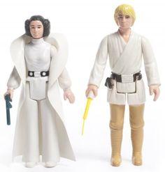 Figurines Princess Leia Organa et Luke Skywalker, États-Unis, 1978