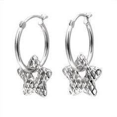 62d2d844b 14K White Gold Star Diamond-Cut Hoop Earrings Diamond Earrings For Women,  Gold Star