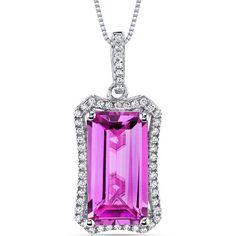 Women's Sterling Silver Vintage Emerald Cut Pink Sapphire Pendant Necklace | eBay