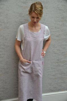 BARA Pure Linen Japanese apron smock dress with crossover back Waist Apron, Apron Dress, Smock Dress, Shirt Dress, Japanese Apron, Pinafore Apron, Gardening Apron, Linen Apron, Black Tote Bag