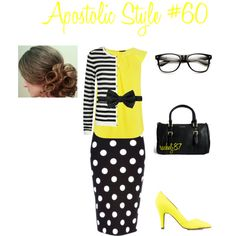 Apostolic Style #60 by rachelj87 on Polyvore featuring Warehouse, BOSS Black, Sugarfree Shoes, Pull&Bear, Jupe By Jackie, yellow, stripes, PolkaDots, Modest and apostolic