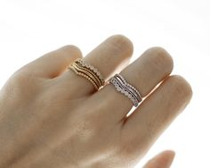 Multi Stacking Wishbone ring detailed with Cubic Zirconia in gold