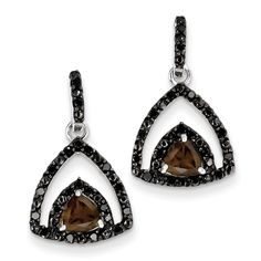 Sterling Silver Smokey Quartz and Black Diamond Earrings