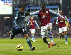 Juan Cuadrado (left) takes on Villa's Cissokho as the Colombian comes on to make his Premier League debut for the Blues