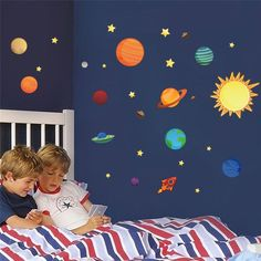 Solar System Planets Earth Wall Stickers (Solar System Decals), White