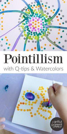Pointillism art for kids with q-tips and watercolors preschool art projects, art activities Preschool Art Projects, Projects For Kids, Art Club Projects, Art Activities For Kids, Therapy Activities, Q Tip Art, Kindergarten Art, Art Abstrait, Art Classroom