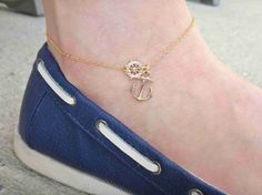 Hey, I found this really awesome Etsy listing at https://www.etsy.com/listing/159470207/nautical-anklet-with-ship-wheel-and