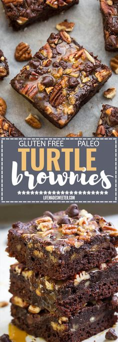 These easy ONE BOWL Turtle Brownies taste completely indulgent while being secretly healthier, paleo friendly, refined sugar free and gluten free. Best of all, this recipe is so easy to make and has all your favorite flavors of Turtles! Melt in your mouth and perfect for any fudgy brownie fans.