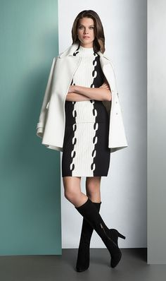 UNDENIABLE ivory jacket over OREO sweater knit black and white top and skirt. ETCETERA Fall 2014