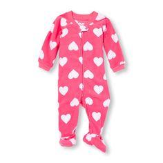 Baby And Toddler Girls Long Sleeve Heart Print Blanket Sleeper