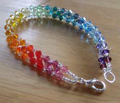 Rainbow Swarovski Crystal bracelet by Siobhan76 on Etsy, $25.00