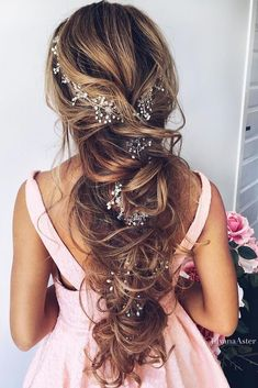 Wedding hairstyle for long hair – bohostyle – vintage style hair accessories #haircarestyling Wedding hairstyle for long hair – bohostyle – vintage style hair accessories #haircarestyling