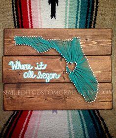 State art Florida cotton anniversary gift by NailedItCustomCrafts