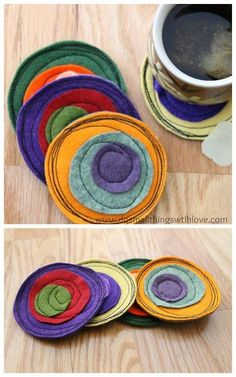 DIY Felt Coaster Tutorial from Small Things with Love at Sugar Bee Crafts he. - - DIY Felt Coaster Tutorial from Small Things with Love at Sugar Bee Crafts he… Mause 08 Felt Crafts Diy, Felted Wool Crafts, Bee Crafts, Felt Diy, Fabric Crafts, Sewing Crafts, Arts And Crafts, Felt Coasters, Fabric Coasters