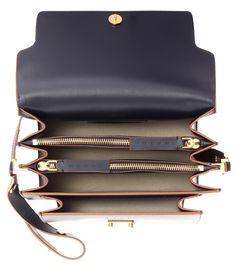 Trunk navy leather shoulder bag
