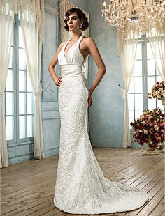 Trumpet/Mermaid V-neck Satin And Lace Wedding Dress(604627)  – USD $ 147.49