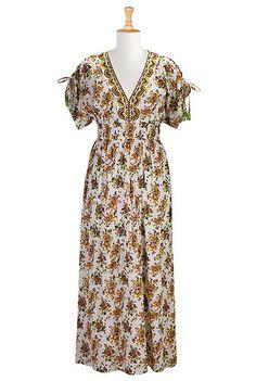I <3 this Floral cotton maxi dress from eShakti