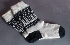 """Knitted socks, music pattern """"Music on your feet"""" I had long time ago to do the socks with music marks: notes, piano etc. Finally I could. Wool Socks, Knitting Socks, Free Knitting, Winter Knitting Patterns, Knit Patterns, Crochet Shoes, Knit Crochet, Knit Socks, Bohemian Style Clothing"""