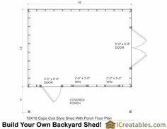 12x16 cape cod garden shed floor plans