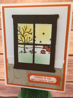 Fall card using Stampin' Up!'s Happy Scenes and Flowering Flourishes Stamp Sets.  This card also uses the Hearth & Home Framelits.  This would also make a great Halloween card!  Instructions on the blog: www.stampwithjennifer.blogspot.com